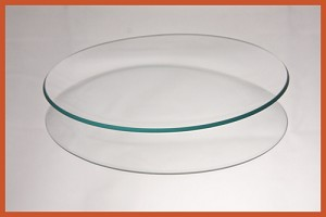 "7"" Round  Bent Clear Glass Plate 3/16"