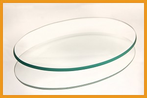 "2nds - 7"" x 10"" Oval Bent Clear Glass Plate 3/16"