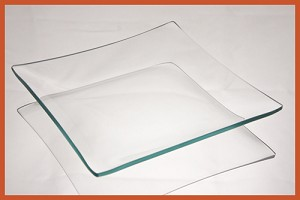 "6"" Square Clear ""BENT"" Glass Plate 1/8"