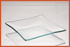 "5"" Square Clear '""BENT"" Glass Plate 1/8"