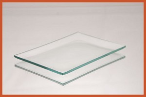 "2nds - 3 1/2"" x 5"" Rectangle Bent Clear Glass Plate 1/8"
