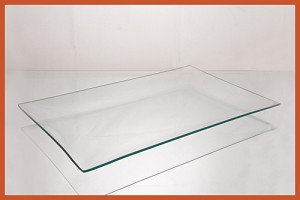 "2nds - 9"" x 14"" Rectangle Clear Bent Glass Plate 1/8"