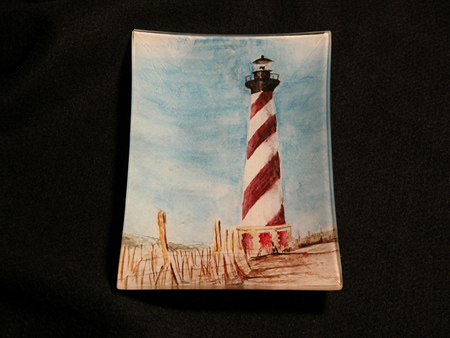 Decoupaged Light House glass tray.