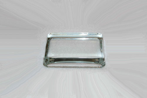 Clear glass paperweights.