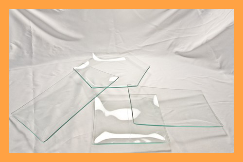 Kit #3- 4 Assorted Clear Glass Plates Variety Kit