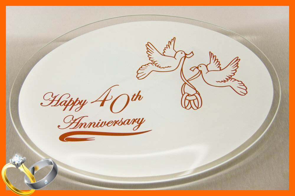 Happy 40th Anniversary Plate