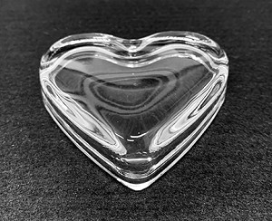 "3 1/2"" Heart Clear Recess Crystal Paperweight"
