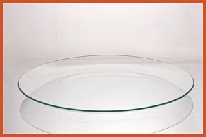 "16"" Round Bent Clear Glass Plate 3/16"