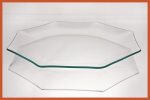 "10"" Octagon Bent Clear Glass Plate 3/16"