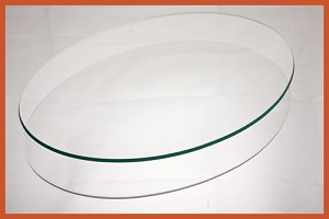 "14"" x 19"" Oval Bent Clear Glass Plate 3/16"
