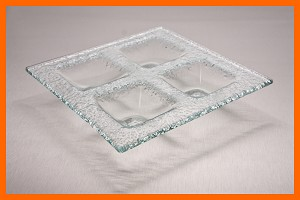 "7"" 4 Pocket Dish Clear Textured 3/16"""