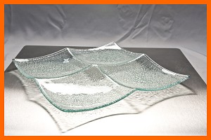 "13"" Square 4 Pocket Tray Clear Bent Textured 3/16"""