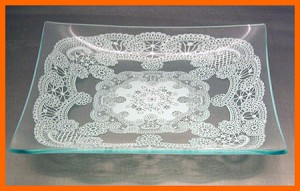 "8"" Square Queen Anne's Lace Glass Plate 1/8"""