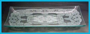 "6"" x 12"" Rectangle Queen Anne's Lace Glass Plate 1/8"""