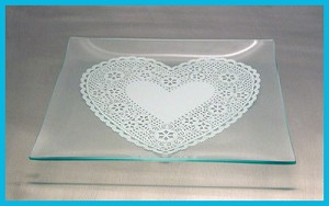 "9"" Square Lace Heart Plate Bent 1/8"""