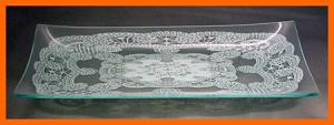 "8"" x 14"" Rectangle Queen Anne's Lace Glass Plate 1/8"""