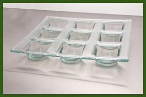 "10"" Square 9 Pocket Tray Clear Bent Textured 3/16"""