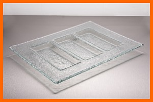 "7"" x 12"" Divided 3 Pocket Tray Clear Textured 3/16"""