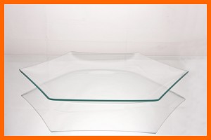 "12"" Hexagon Clear Bent Glass Plate 3/16"