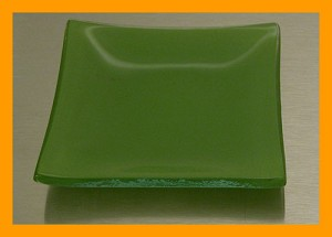 "3"" Square Shallow Dipping Dish, Green Bent 3/16"""