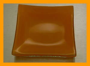 "3"" Square Shallow Dipping Dish, Orange Bent 3/16"""
