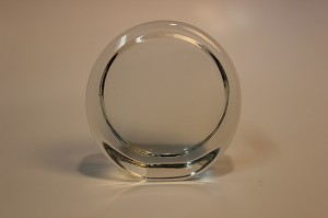 "3 1/2"" Round Stand Up Tapered Recess Crystal Paperweight"