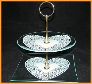 "2 Piece Tray Set - 9"" Square & 8"" Round Lace Heart Design 1/8"""
