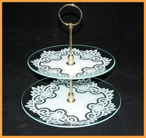 "2 Piece Tray Set - 10"" & 8"" Round Battenburg Lace Design 1/8"""