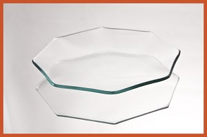 "2nds - 6"" Octagon Clear Bent Glass Plate 1/8"