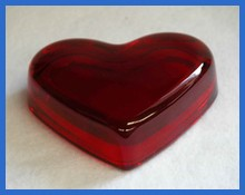 "2nds - 3 1/2"" Heart Red Crystal Paperweight"