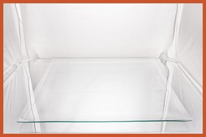 "2nds - 16"" Square Clear Glass Plate 1/8 Bent"
