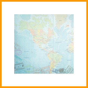 "World Travel Western Hemisphere Map Paper 12"" x 12""- 1 Sheet"