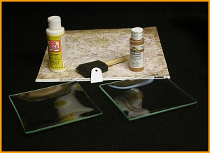 "Kit #10- 6"" Square Glass Plate Beginners Decoupage Set"