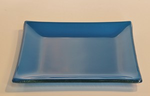 "6"" Square Textured Glass, Blue"