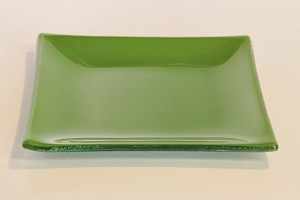 "6""  Square Glass Plate, Green"