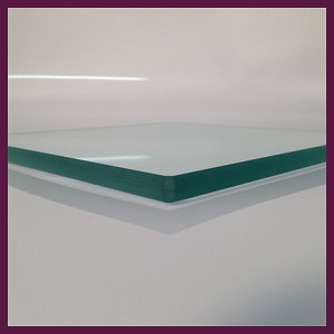 "10"" Square 3/8"" Thick Flat Clear Glass"