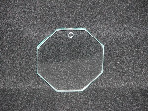 "3"" Octagon Suncatcher/Ornament Clear Glass Flat 1/8"