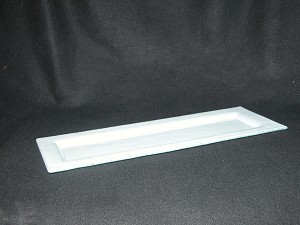 "7"" x 19"" Indent Sushi Dish White Textured 3/16"""