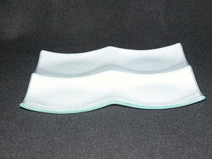 "8"" Square 4 Pocket Tray White Textured Bent 3/16"""