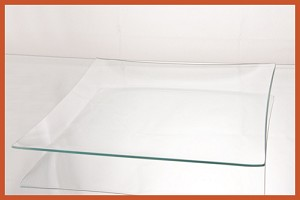 "2nds - 20"" Square Clear Glass Plate Bent 1/8"