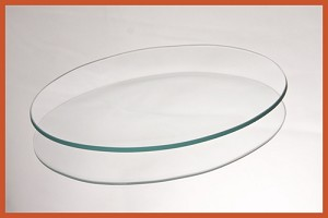 "2nds - 14"" x 19"" Oval Clear Glass Plate 3/16"
