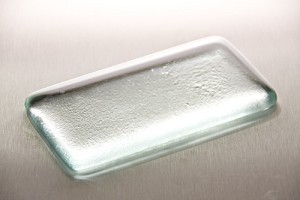 "2"" x 4"" Rectangle Clear Glass Paperweight with a brushed design on the back"
