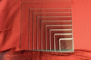 "9"" Square Low Iron Clear Flat Glass, 4 MM (DG)"
