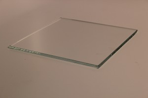 "6"" Square Low Iron Clear Flat Glass, 4 MM, Swiped"