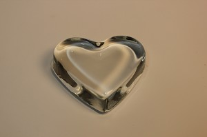"2nds - 3 1/2"" Heart Crystal Clear Paperweight"