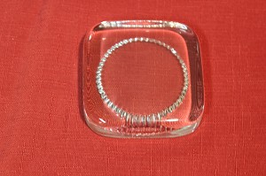 "2nds - 3 1/4"" Square with Inside Circle Crystal Paperweight"