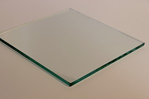 "4"" Square Clear Flat Glass 3/16"", Swiped"