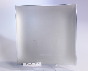 "8"" Square Glass Plate, Silver"