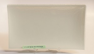 "6"" x 10"" Rectangle Glass Plate, White"