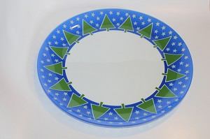 "13"" Stars and Trees Glass Plate"